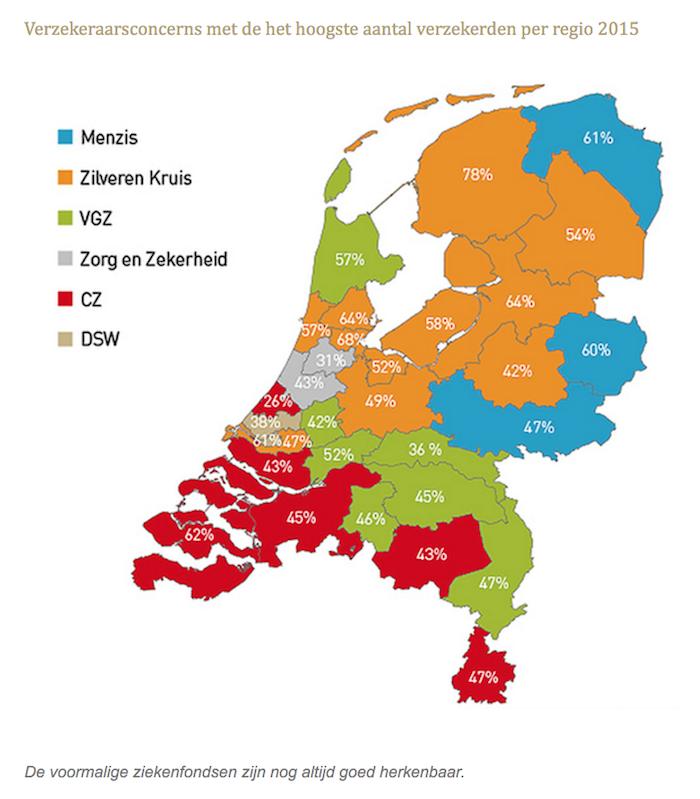 Verzekeraarsconcerns met de het hoogste aantal verzekerden per regio 2015