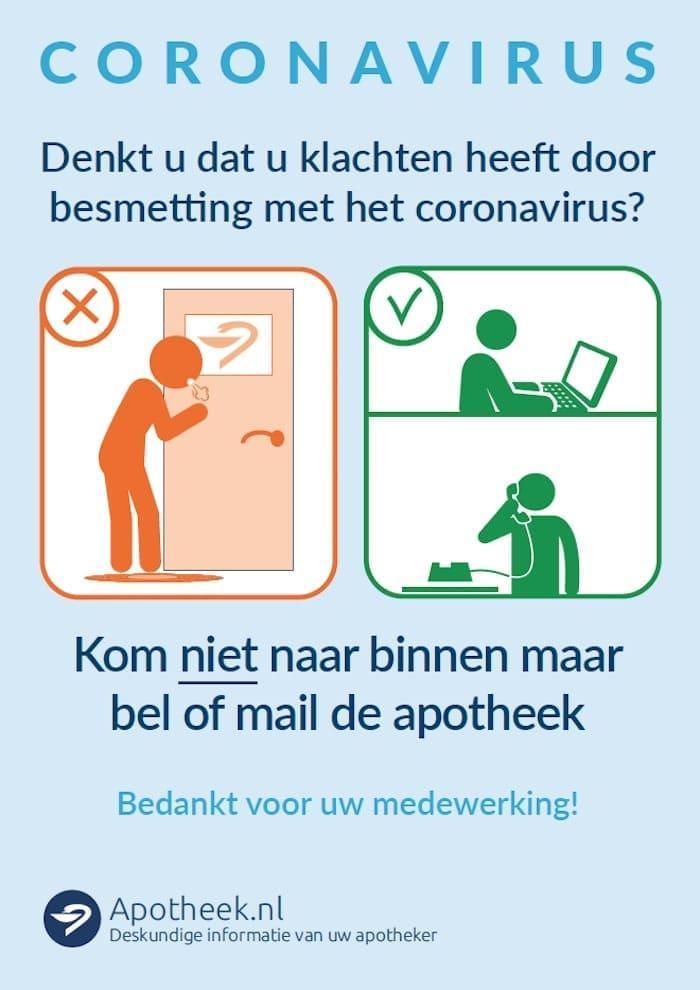 KNMP Poster Heeft u klachten Bel of mail de apotheek