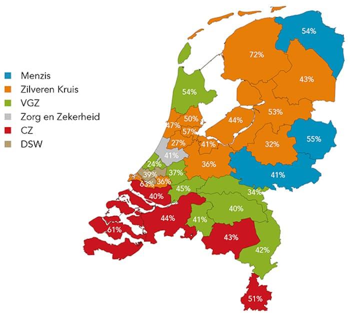 Marktaandeel grootste zorgverzekeraar het laagst in regio Haaglanden
